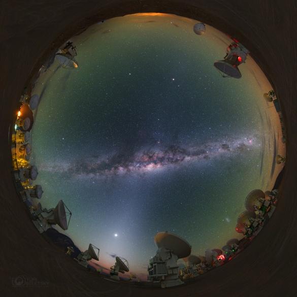 Abbildung 2: Strahldiagramm eines Dipols 0.1λ über realem Grund im Vergleich mit der Fischaug-Analogie aus der Optik (Foto: Yuri Beletsky)