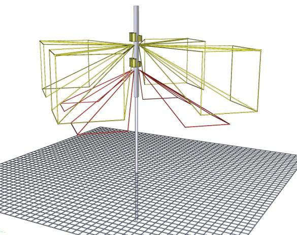 Abbildung 3: Antenneneinheit, gelb: Kreuzdipol 2.8-7.6MHz, rot: Kreuzdipol 7.6-10.0MHz, Bild-Quelle: Mini-Antenna GmbH