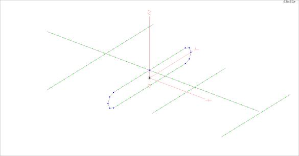 Abbildung 4: EZNEC-Modell der Vierelement-Yagi